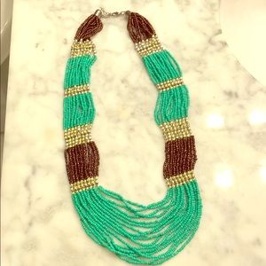 Teal, Gold, & Brown Beaded Necklace